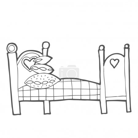 Illustration for Bedroom with wood furniture. Hand drawn sketch illustration isolated on white background - Royalty Free Image