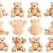 Teddy bear in different positions isolated on whit...