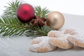 Vanillekipferl with christmas decoration