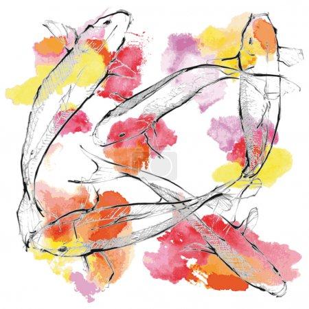 Hand sketch Koi carps on paint ground
