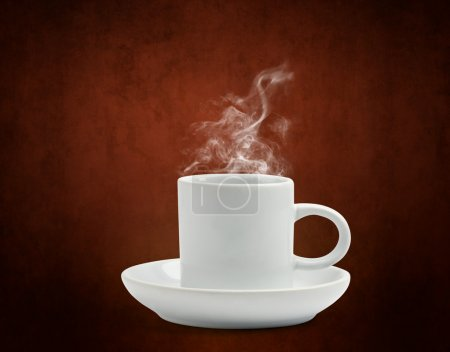 Photo for Warm cup of coffee on brown background - Royalty Free Image