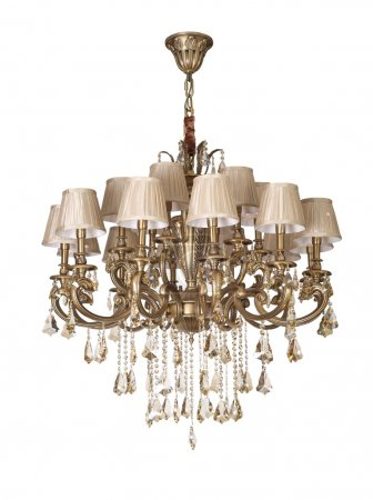 Vintage chandelier isolated on white background with clipping path included
