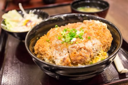 Katsudon - Japanese breaded deep fried pork cutlet (tonkatsu) to