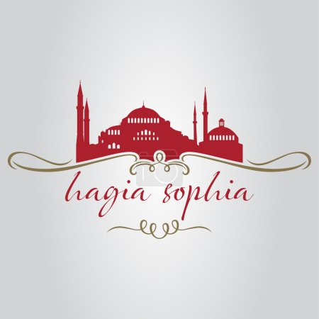 istanbul hagia sophia mosque logo, icon and symbol vector illustration