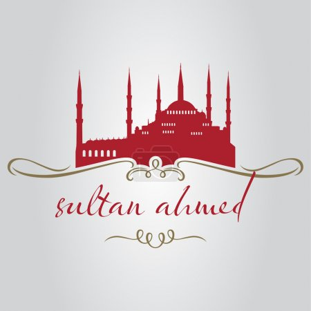 istanbul sultan ahmed mosque vector illustration