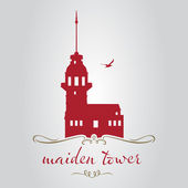 istanbul maiden tower logo icon and symbol vector illustration