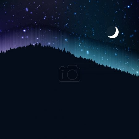 Starry night with moon, landscape background, vector illustration
