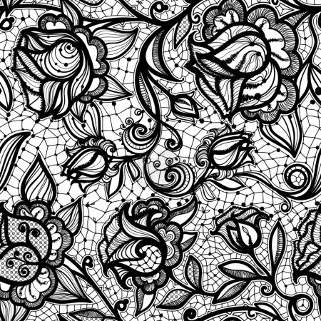 Abstract seamless lace pattern with flowers and leaves.
