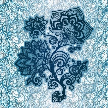 streszczenie bezszwowe rysowane ręcznie wzór liści i kwiatów.