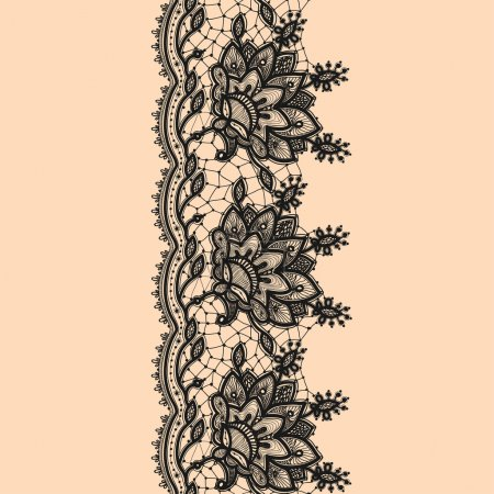 Vertical Seamless Pattern Black Lace.
