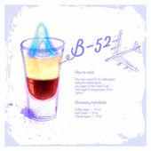 Cocktails B-52 Menu drawn watercolor