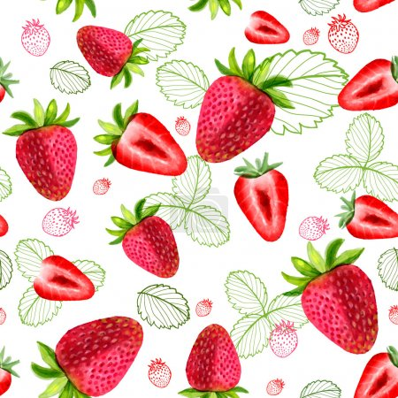 Strawberry vector seamless patterns