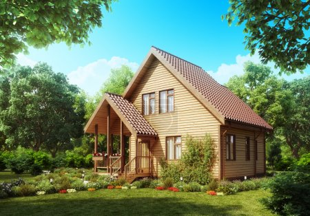 Photo for Suburban wooden house. Cozy home exterior. - Royalty Free Image