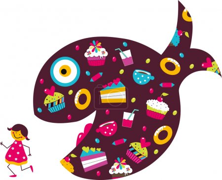 Illustration for Girl run away from sweets. Vector illustration. - Royalty Free Image
