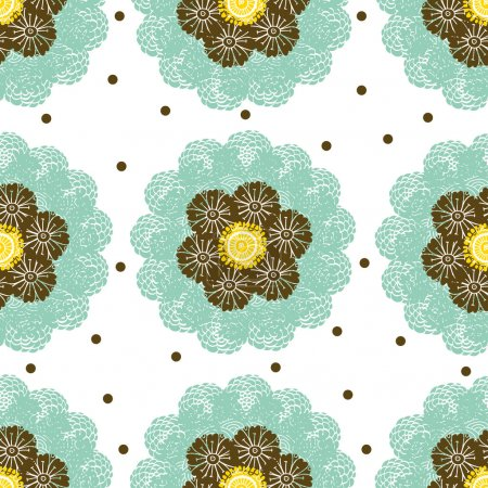 Seamless pattern with flowers and polka dot