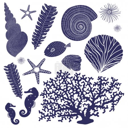 Vector set of marine elements.