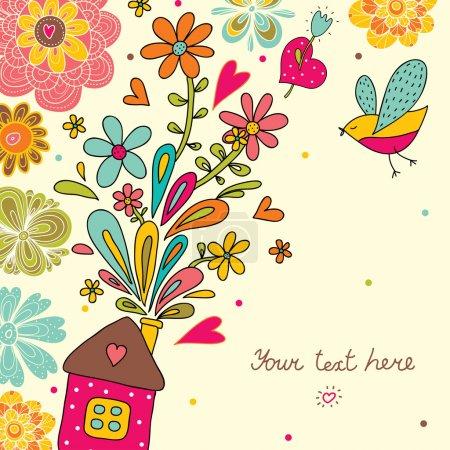 Illustration pour Maison douce maison. carte postale mignon. - image libre de droit