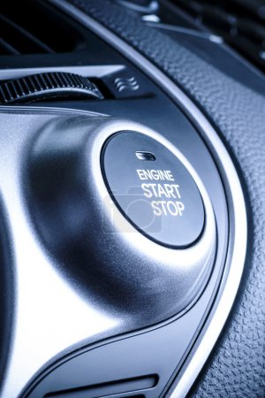 Start stop ignition button in car, vehicle.