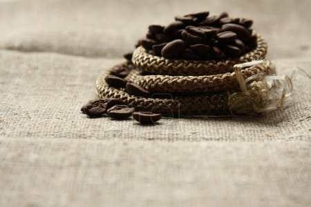 Coffee beans, rope and canvas