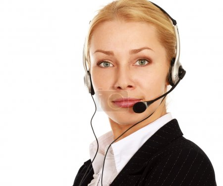 Businesswoman with headset. Call center