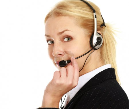 Businesswoman with headset.