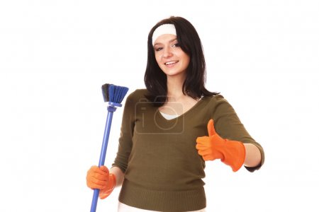Photo for Happy cleaning woman showing ok  isolated on white background - Royalty Free Image