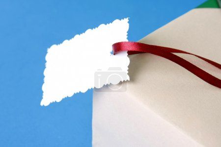 Ribbon with a card on a present