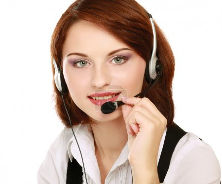 Photo for Beautiful businesswoman with headset. Call center - Royalty Free Image