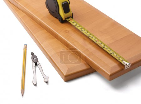Wooden board and tools