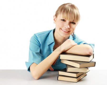 Photo for A young college girl studying - Royalty Free Image