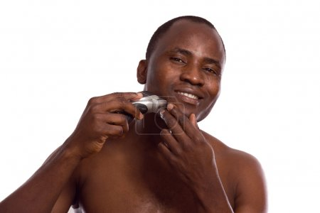African-american man shaving