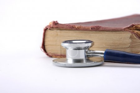 Medical education with book and stethoscope