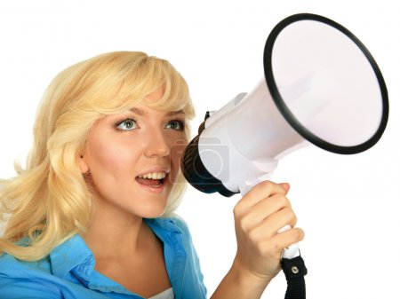 Young girl shouting with megaphone