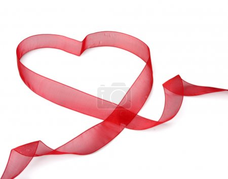 A red ribbon shaping heart