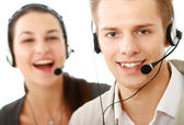 Young people working in a call center