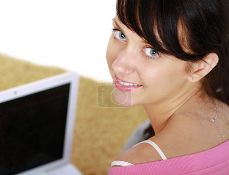 Woman typing something on keyboard