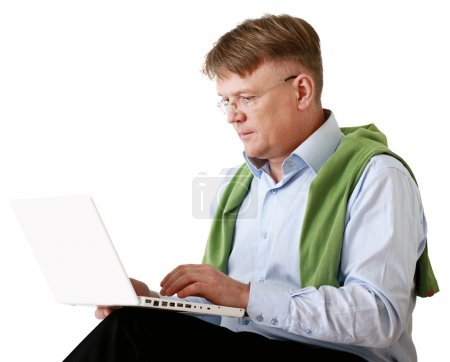 Elderly senior man with laptop