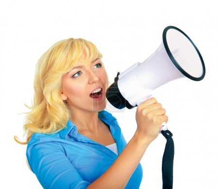 Girl shouting with megaphone
