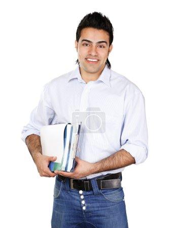 Photo pour Un jeune homme avec des livres, isolé sur fond blanc - image libre de droit