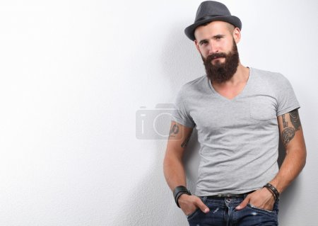 Photo for Portrait of handsome bearded man isolated on grey background - Royalty Free Image