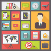 Business and office icons set flat design vector