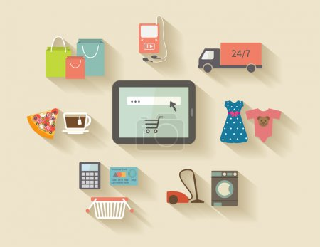Internet shopping, e-commerce concept. Icons set with long shadows.