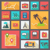 Travel and vacation icons set flat design vector illustration