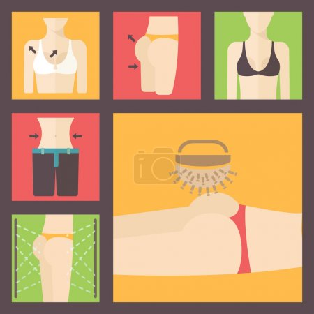 Keeping fit, weight loss, plastic surgery set. Perfect body illustration. Breast, figure, buttocks and scales flat vector icons.