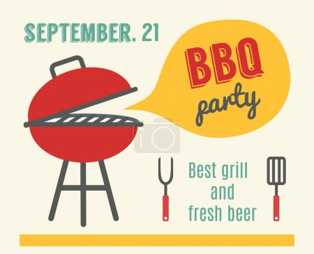 Illustration for BBQ party. Barbeque and grill cooking. Invitation template. - Royalty Free Image