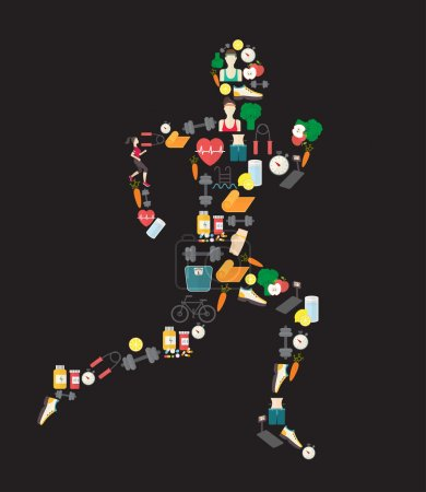 Running man silhouette filled with sport icons. Vector illustration on white background.