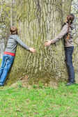 Boy and girl hugging old tree