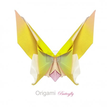 Origami yellow butterfly on a white background...
