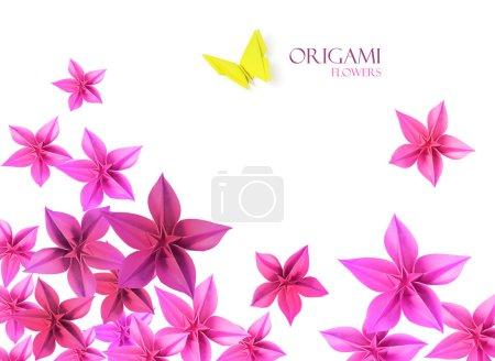 Photo pour Fleurs en papier origami décoration whith un papillon en bas - image libre de droit