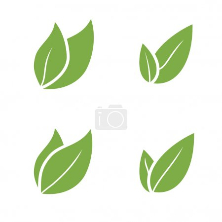 Illustration for Leaf Pair Icon Vector Illustrations on Both Solid  organic - Royalty Free Image